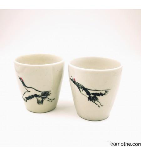 Ensemble 2 tasses céramique motif grues