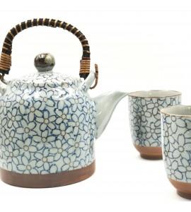 Théière + 2 tasses porcelaine du japon