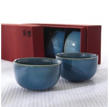 Coffret taffetas soie 4 tasses Iroyo Vert-Bleu