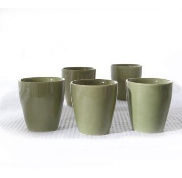 Coffret bois 5 tasses Kyoto verte