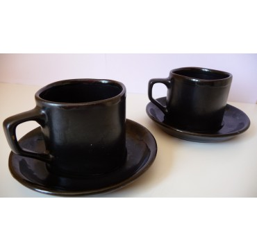Le duo tasses noires bordure bleue