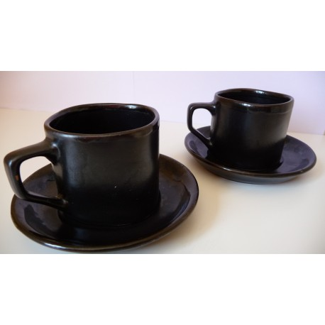 Le duo tasses noires bordure bleue