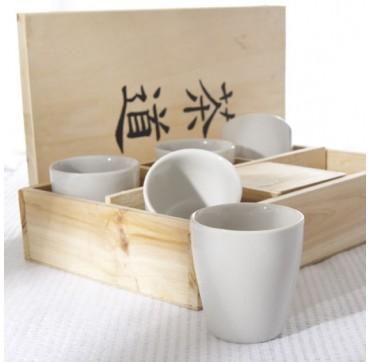 Coffret bois 5 tasses Kyoto blanc